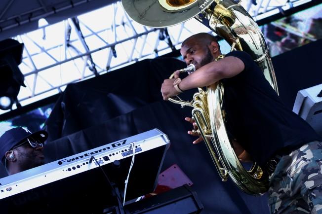 Keyboardist Kamal Gray with Tuba Gooding Jr.